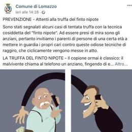Truffa del finto nipote  A Lomazzo allarme sui social