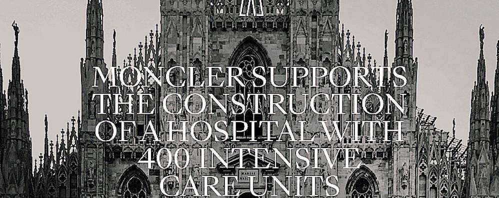 Coronavirus, le imprese  Moncler, donazione di 10 milioni  «Sostegno al nuovo ospedale»