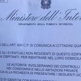Coronavirus: «Controlli   all'interno dei domicili» Ma la polizia avverte: cartelli falsi