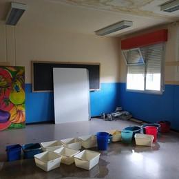 Turate, piove in aula  Lezioni con le bacinelle